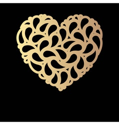 Decorative golden heart vector