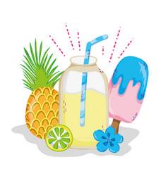 delicious summer juice cartoon vector image