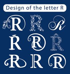 Design of the letter r calligraphic elegant line vector