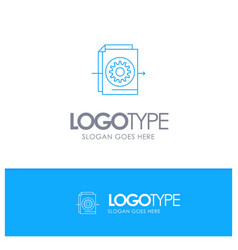 document file gear settings blue outline logo vector image