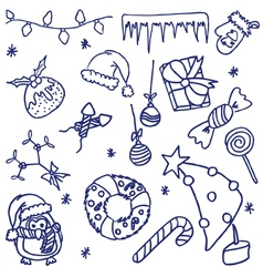 Doodle Christmas Set vector image
