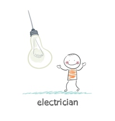 Electrician near huge bulbs vector