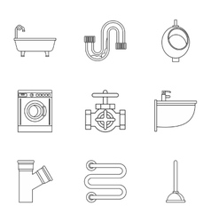 Equipment for bathroom icons set outline style vector