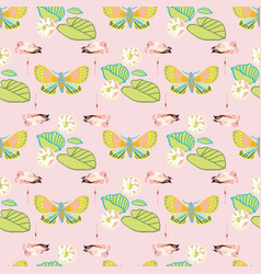 Exotic jungle flamingo geometric pattern vector