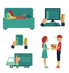 flat online shopping concept scenes set vector image
