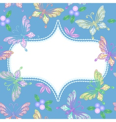 Floral lace frame with butterflies vector