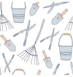 garden tools set seamless pattern vector image