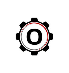 gear solution logo letter o vector image