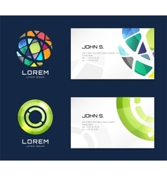 Globe logo business card template Abstract vector