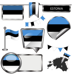 glossy icons with flag of estonia vector image