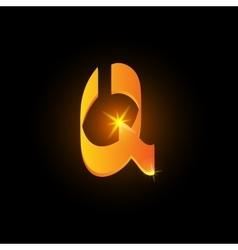Golden arabic style letter q Shiny latin alphabet vector