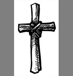 Graphic hand drawn christian cross icon vector