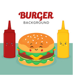 Great background with burger sauces characters vector