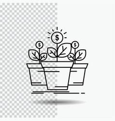 growth money plant pot tree line icon on vector image