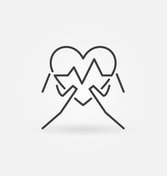 hands with heartbeat outline icon medical vector image