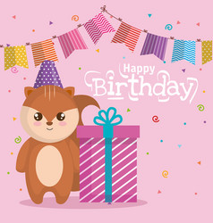happy birthday card with chipmunk vector image