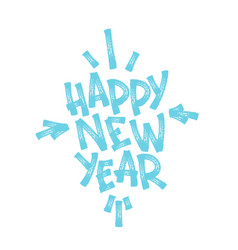 happy new year marker hand lettering isolated on vector image
