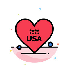 heart love american usa abstract flat color icon vector image
