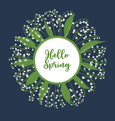 hello spring greeting card with lily valley vector image