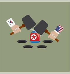 Hit north korean flag vector