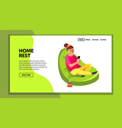 Home rest beanbag with drink cup and phone vector