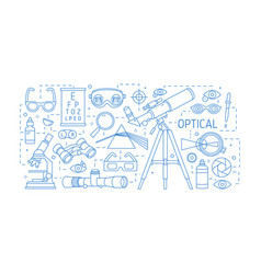 horizontal banner with various optical devices vector image