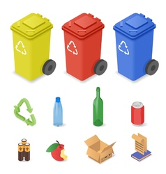isometric set waste sorting cans vector image