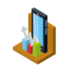 Isometric smartphone with business apps vector