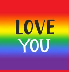 love you gay pride emblem vector image