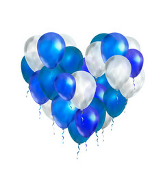 Luxury balloons in blue and white colours in heart vector