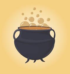 magic green cauldron bubbles and potion vector image