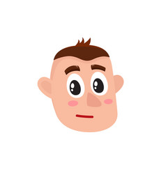 Male head with troubled confused worried face vector
