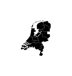 map netherland country black on white vector image
