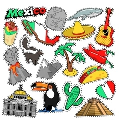 Mexico Travel Scrapbook Stickers Patches Badges vector image