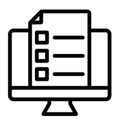 monitor with document line icon list on computer vector image
