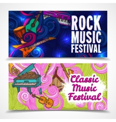 Music horizontal banners vector image