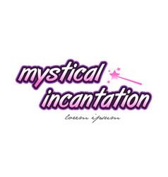 Mystical incantation word text logo icon design vector