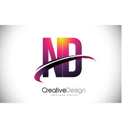 Nd n d purple letter logo with swoosh design vector