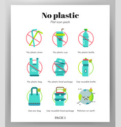 No plastic icons flat pack vector