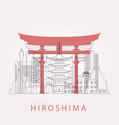Outline hiroshima skyline with landmarks vector