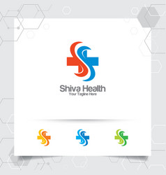 Plus symbol medical health logo design vector