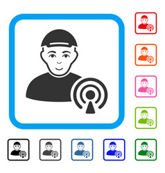 Podcast creator framed gladness icon vector