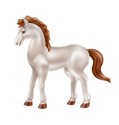 Realistic horse toy doll with black saddle vector