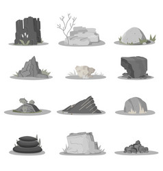rocks and stones single or piled for damage rubbl vector image