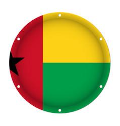 Round metal flag - guinea-bissau with screw holes vector
