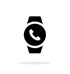 Round smart watch call simple icon on white vector image