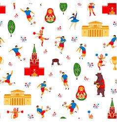 seamless pattern in russian style soccer vector image
