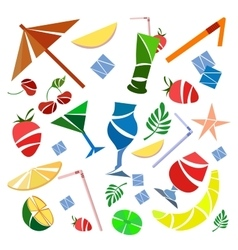 Set cocktails umbrellas fruit banana vector image