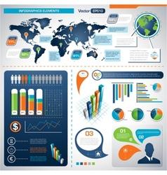 set infographic elements information graphics vector image