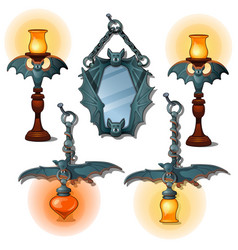 Set lamps and mirror in bat form interior item vector